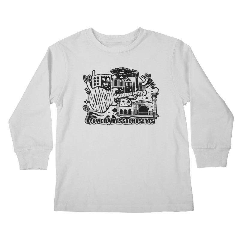 Toon City Black Kids Longsleeve T-Shirt by lowellsummermusic's Artist Shop