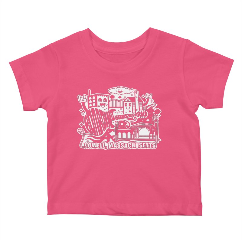 Toon City White Kids Baby T-Shirt by lowellsummermusic's Artist Shop