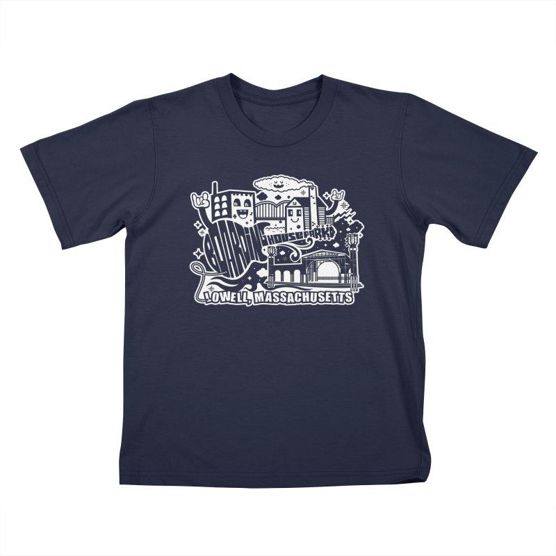 Toon City White Kids T-Shirt by lowellsummermusic's Artist Shop