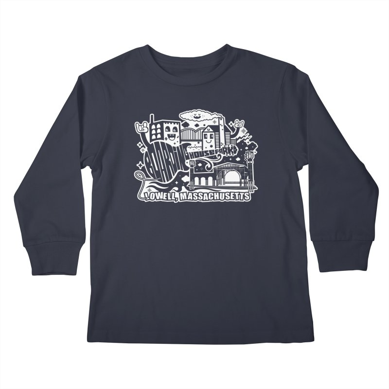 Toon City White Kids Longsleeve T-Shirt by lowellsummermusic's Artist Shop