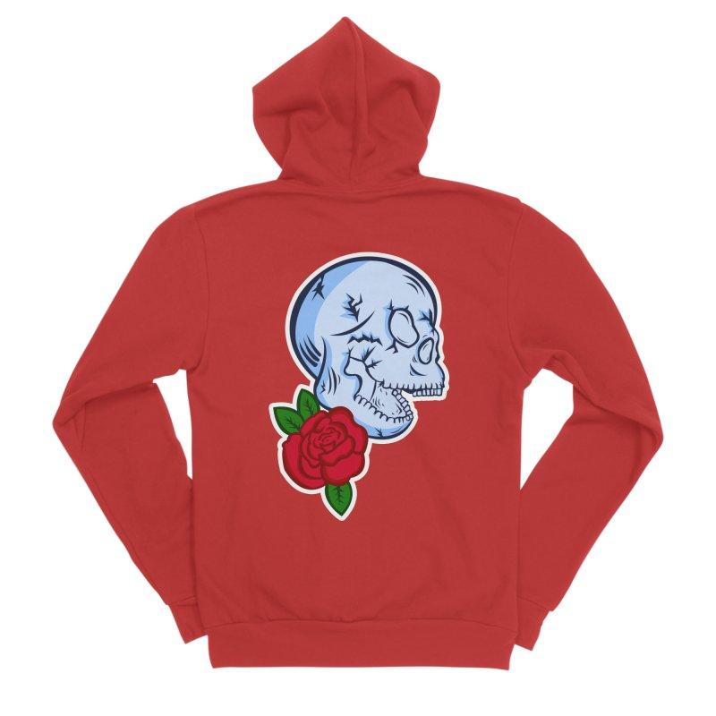 Skull Rose Women's Sponge Fleece Zip-Up Hoody by lowpolyart's Artist Shop