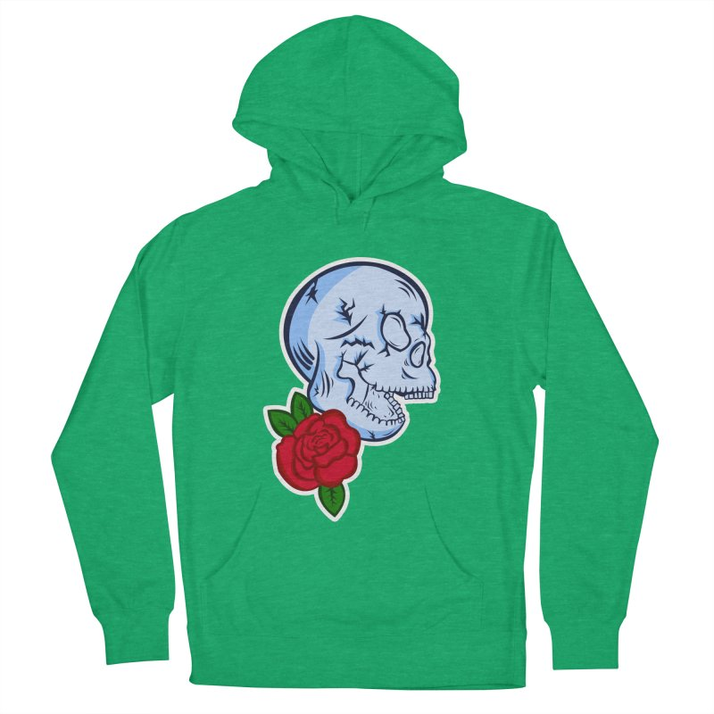 Skull Rose Women's French Terry Pullover Hoody by lowpolyart's Artist Shop