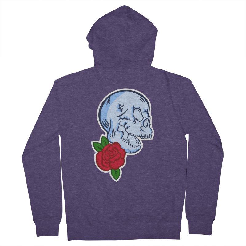 Skull Rose Men's French Terry Zip-Up Hoody by lowpolyart's Artist Shop