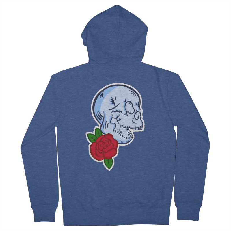 Skull Rose Men's French Terry Zip-Up Hoody by lowpolyart's Artist Shop