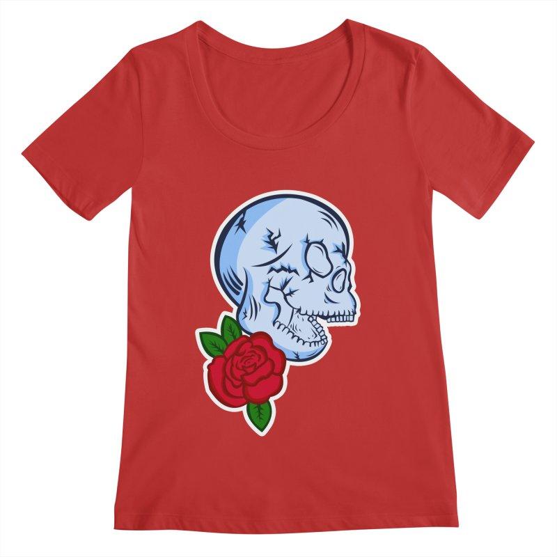 Skull Rose Women's Regular Scoop Neck by lowpolyart's Artist Shop