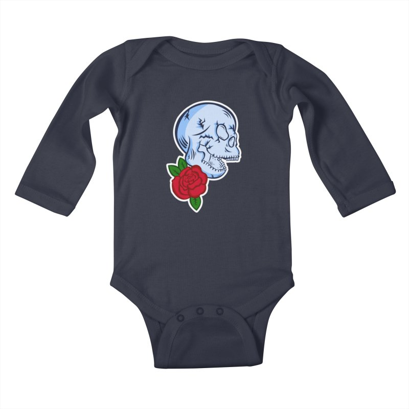 Skull Rose Kids Baby Longsleeve Bodysuit by lowpolyart's Artist Shop