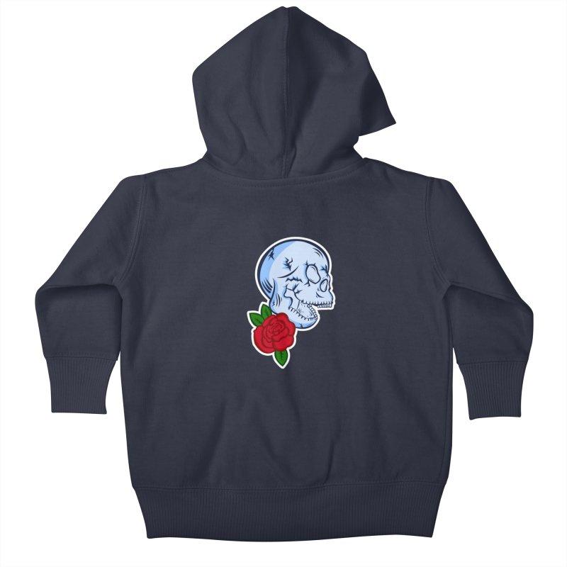 Skull Rose Kids Baby Zip-Up Hoody by lowpolyart's Artist Shop