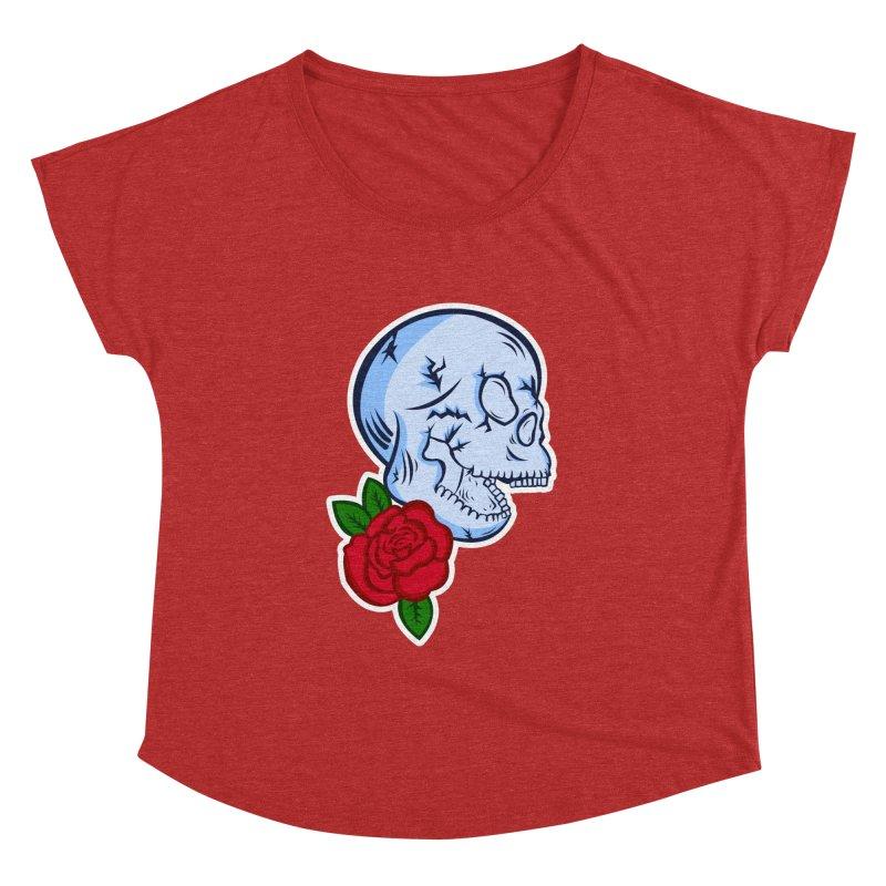 Skull Rose Women's Dolman Scoop Neck by lowpolyart's Artist Shop