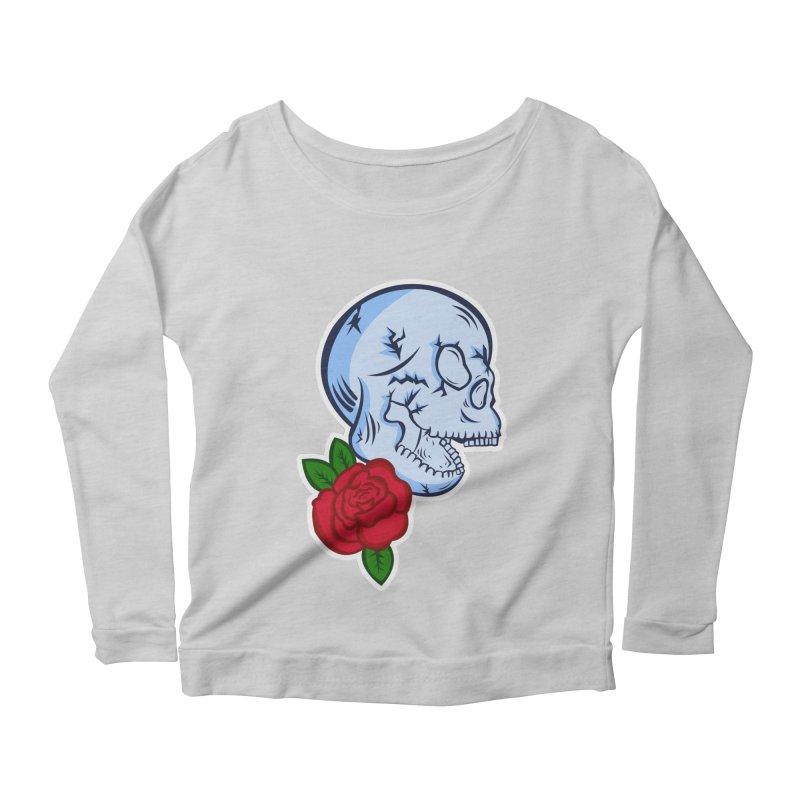 Skull Rose Women's Scoop Neck Longsleeve T-Shirt by lowpolyart's Artist Shop
