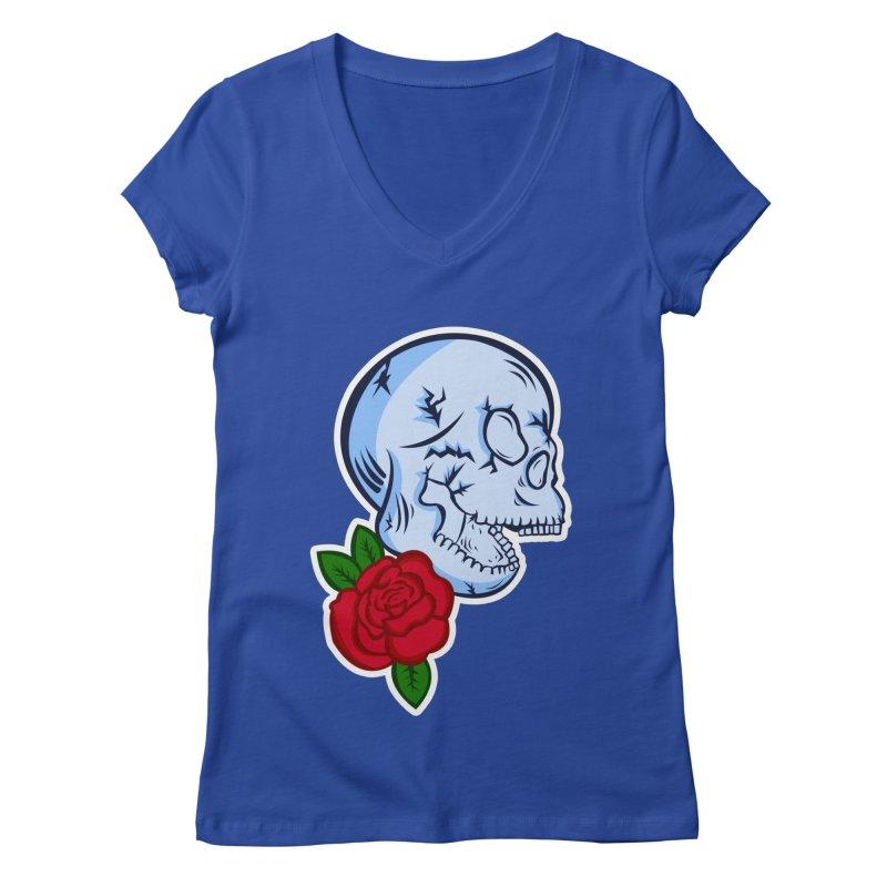 Skull Rose Women's Regular V-Neck by lowpolyart's Artist Shop