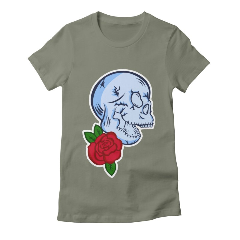 Skull Rose Women's Fitted T-Shirt by lowpolyart's Artist Shop