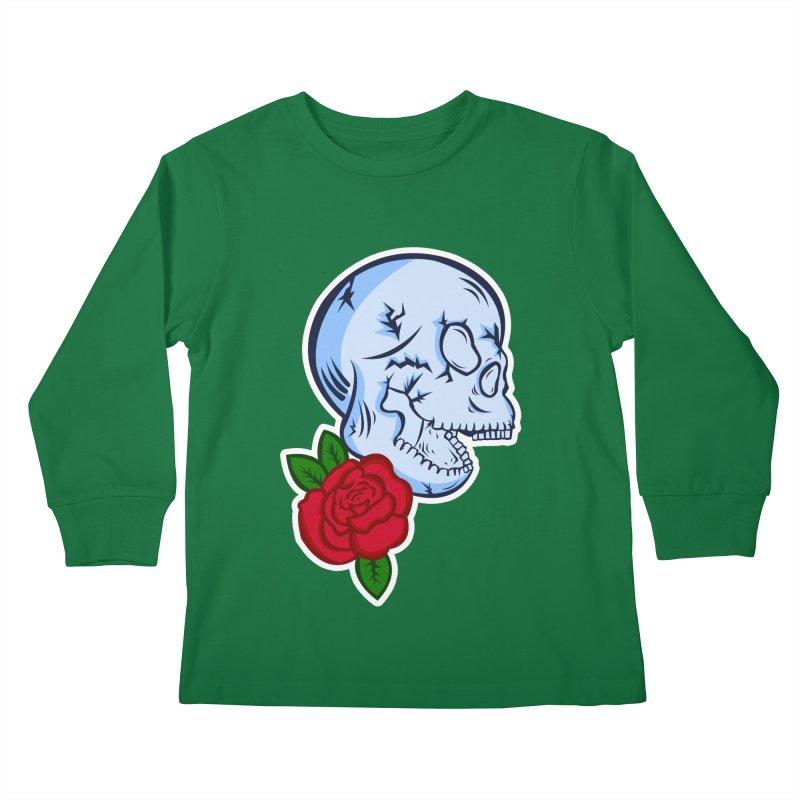 Skull Rose Kids Longsleeve T-Shirt by lowpolyart's Artist Shop