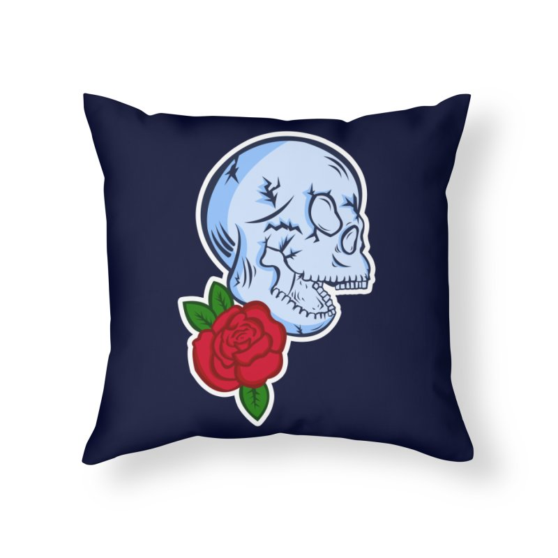 Skull Rose Home Throw Pillow by lowpolyart's Artist Shop