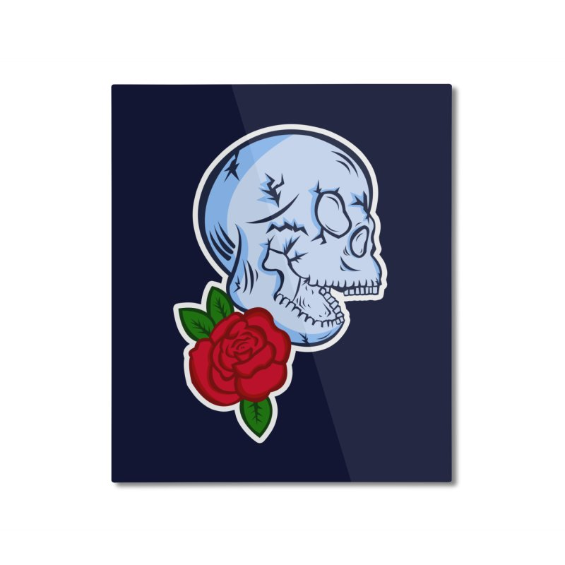 Skull Rose Home Mounted Aluminum Print by lowpolyart's Artist Shop