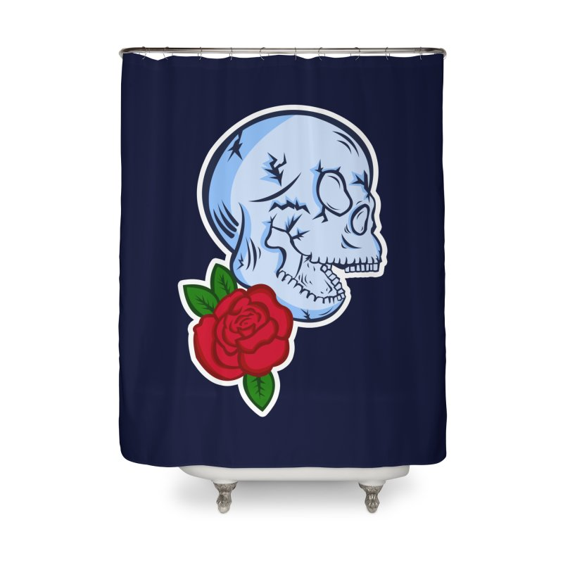 Skull Rose Home Shower Curtain by lowpolyart's Artist Shop