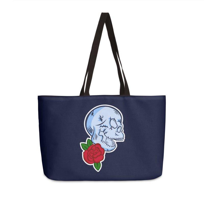 Skull Rose Accessories Weekender Bag Bag by lowpolyart's Artist Shop