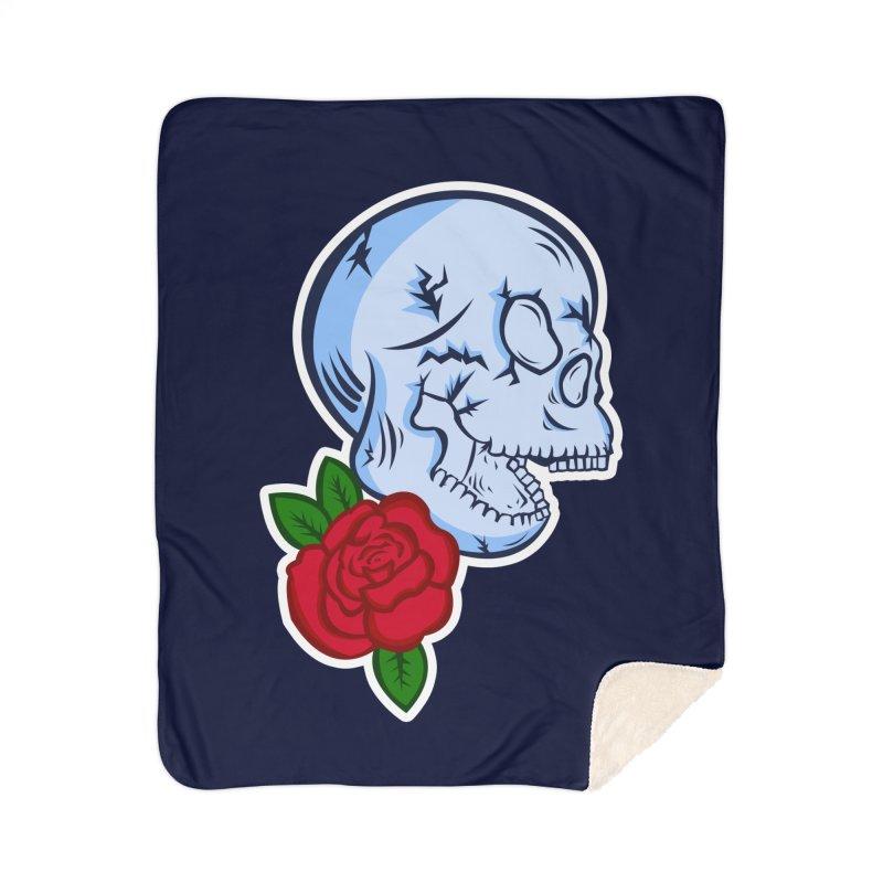 Skull Rose Home Sherpa Blanket Blanket by lowpolyart's Artist Shop