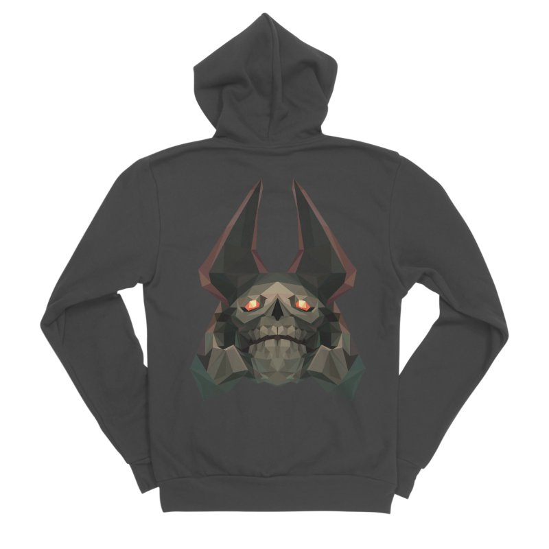 Low Poly Art - Skeleton King Women's Sponge Fleece Zip-Up Hoody by lowpolyart's Artist Shop