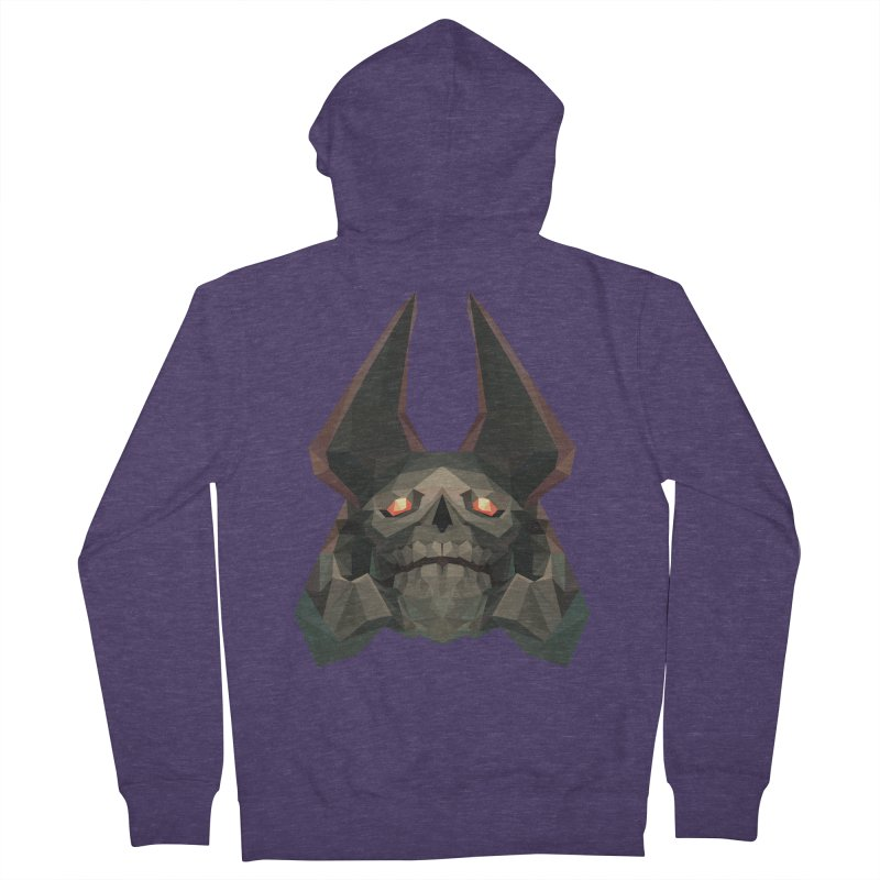 Low Poly Art - Skeleton King Men's French Terry Zip-Up Hoody by lowpolyart's Artist Shop