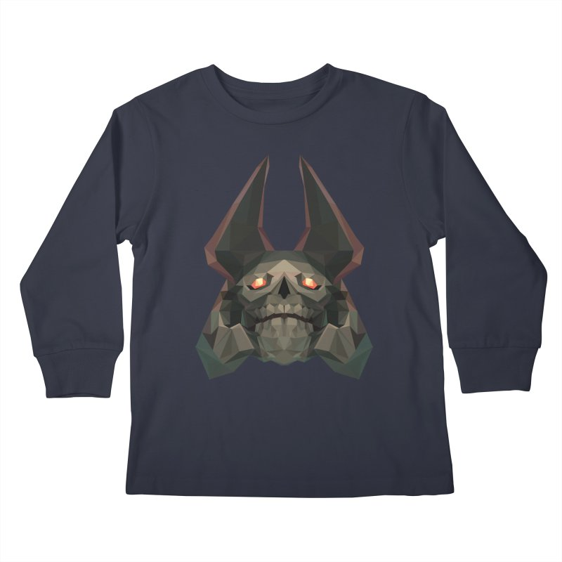 Low Poly Art - Skeleton King Kids Longsleeve T-Shirt by lowpolyart's Artist Shop