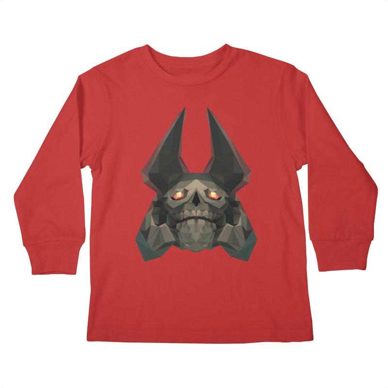 Low Poly Art - Skeleton King Kids Longsleeve T-Shirt by lowpolyart's Artist Shop
