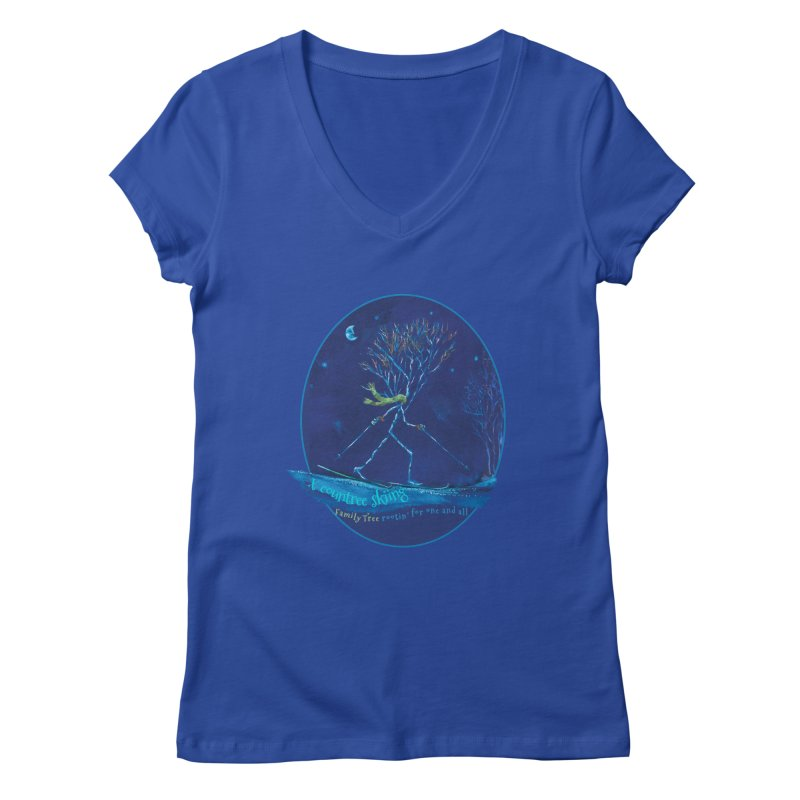x countree skiing Women's Regular V-Neck by Family Tree Artist Shop