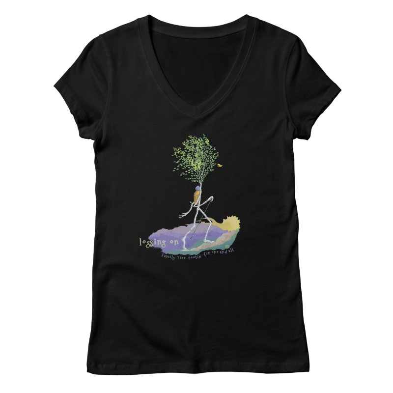 Loggin On Women's V-Neck by Family Tree Artist Shop