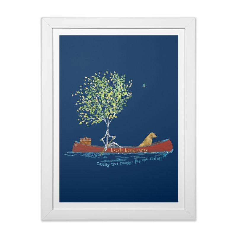 Birch Bark Canoe Home Framed Fine Art Print by Family Tree Artist Shop