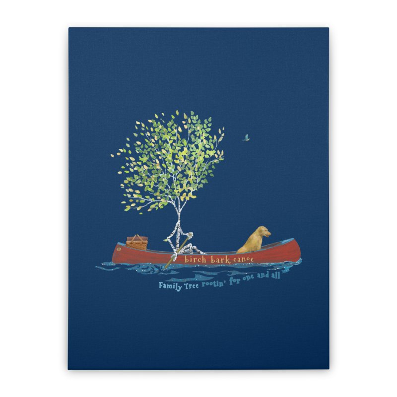 Birch Bark Canoe Home Stretched Canvas by Family Tree Artist Shop