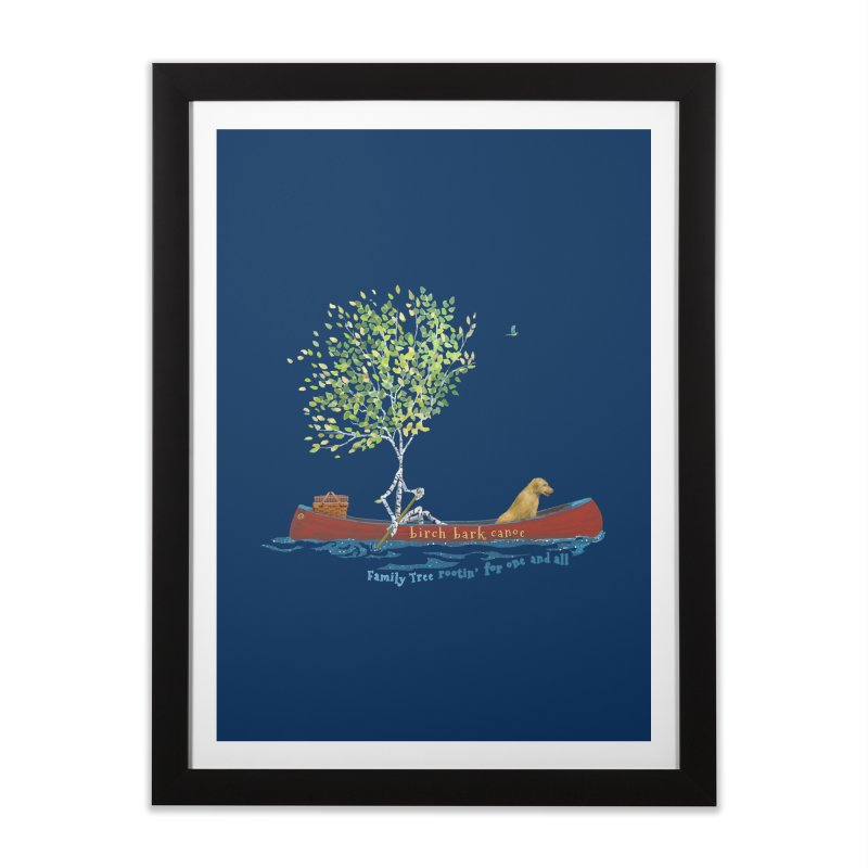 Birch Bark Canoe Home Framed Fine Art Print by Family Tree Artist Shop