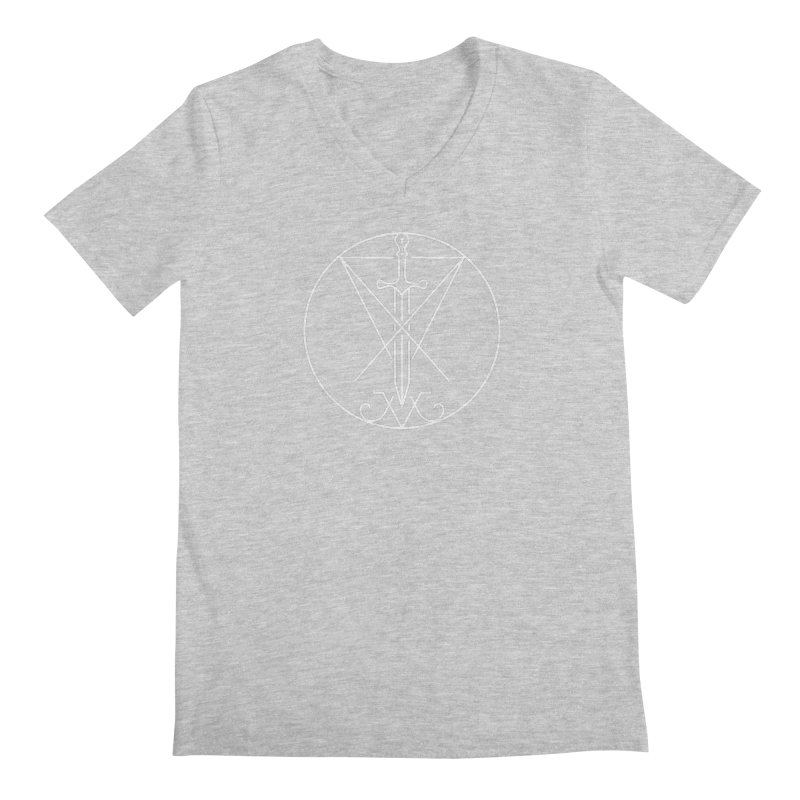 Dominion Symbol - White Men's V-Neck by The Luciferian Dominion
