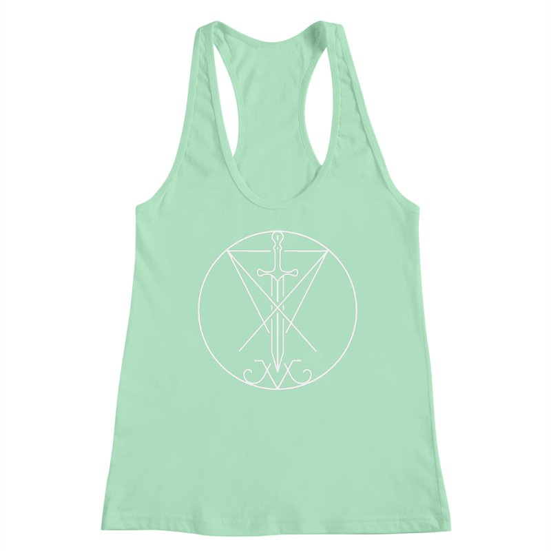 Dominion Symbol - White Women's Racerback Tank by The Luciferian Dominion