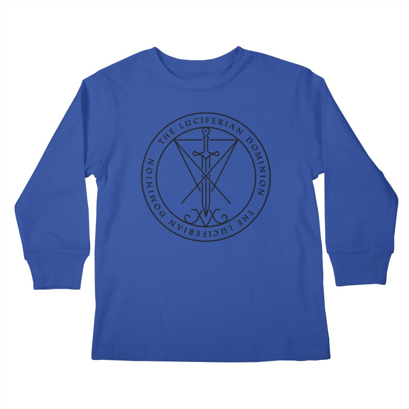 Dominion Emblem - Black Kids Longsleeve T-Shirt by The Luciferian Dominion
