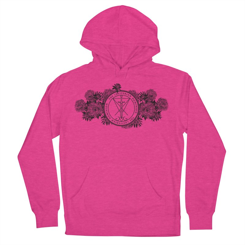 Dominion Flowers - Black Women's French Terry Pullover Hoody by The Luciferian Dominion