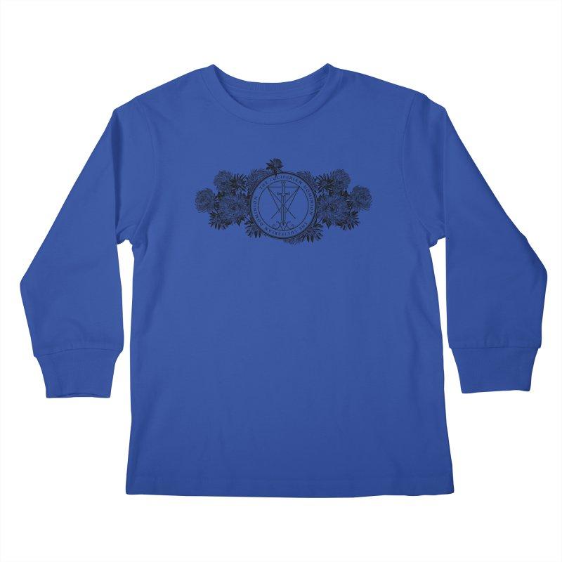 Dominion Flowers - Black Kids Longsleeve T-Shirt by The Luciferian Dominion