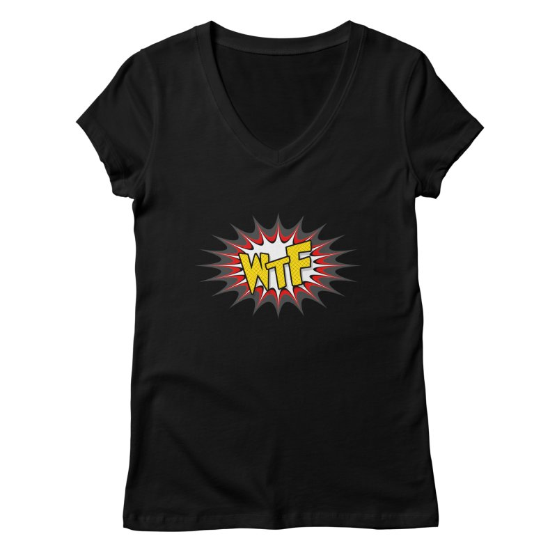 WTF (comic style) Women's V-Neck by John Lucke Designs
