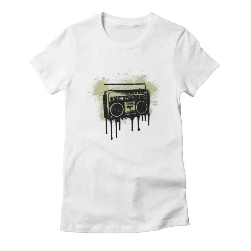 Portable Stereo Splatter Women's Fitted T-Shirt by John Lucke Designs