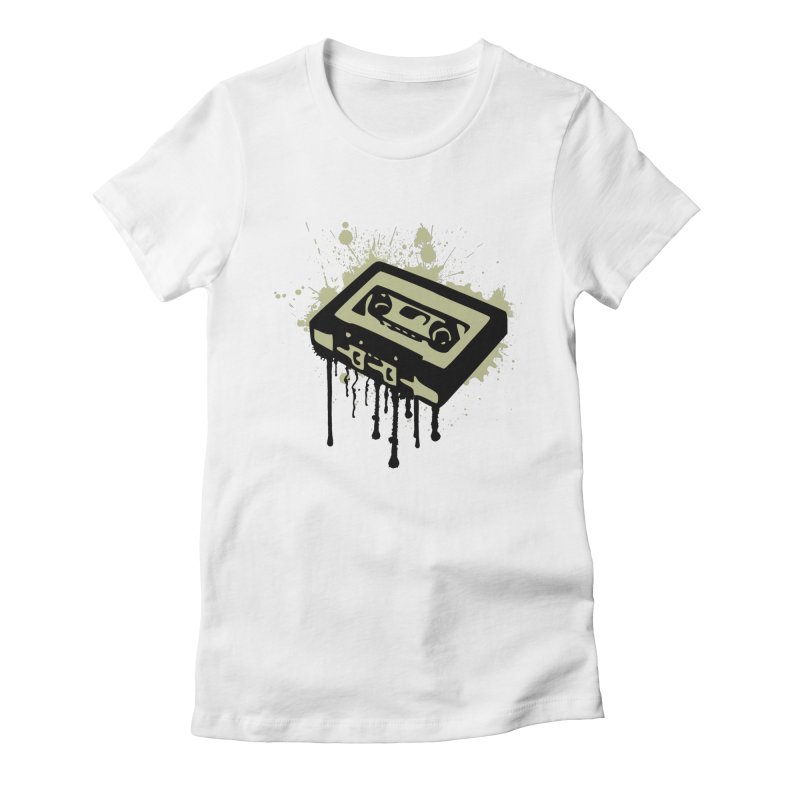 Cassette Splatter Women's Fitted T-Shirt by John Lucke Designs