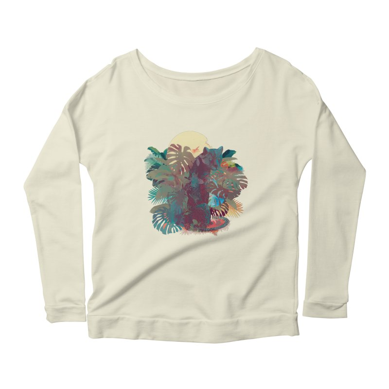 Panther Square Women's Longsleeve Scoopneck  by ludovicjacqz's Artist Shop