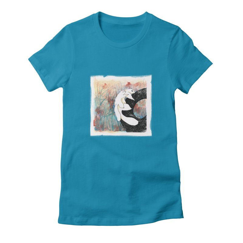 Possums (by Ana) in Women's Fitted T-Shirt Turquoise by LUFANA art