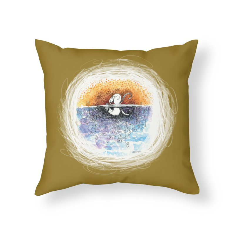 River rat (by Ana) in Throw Pillow by LUFANA art