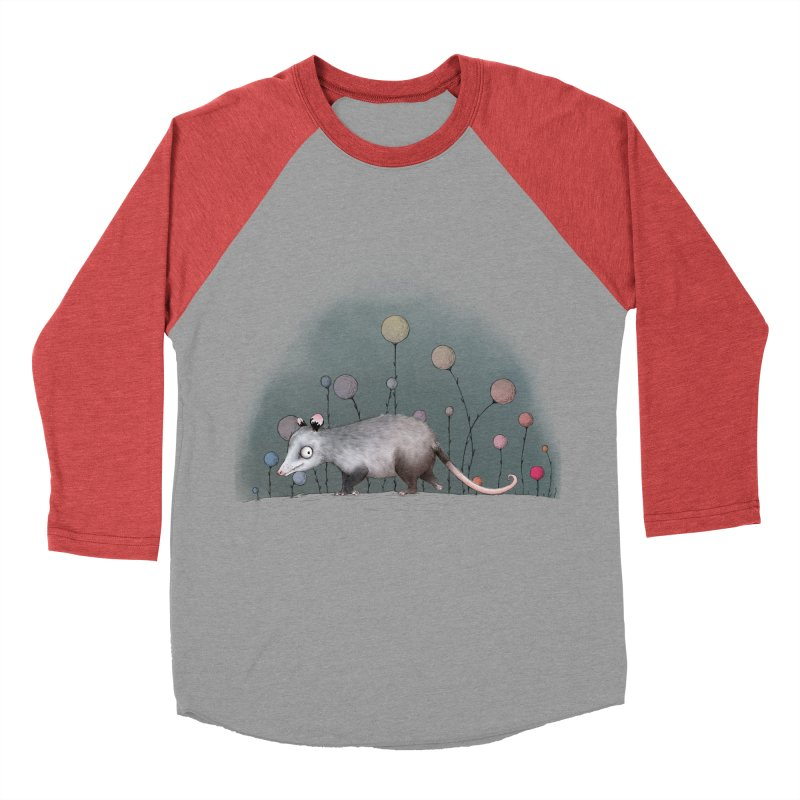 Possum 2Light (by Luisa) in Men's Baseball Triblend Longsleeve T-Shirt Chili Red Sleeves by LUFANA art