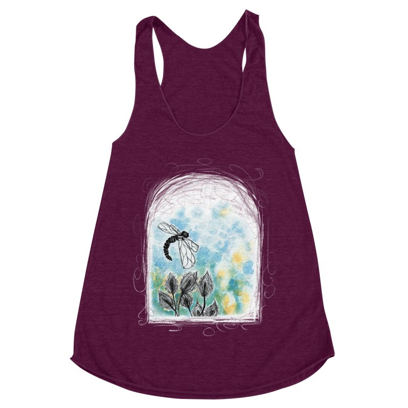 Dragonfly (by Ana) in Women's Racerback Triblend Tank Tri-Cranberry by LUFANA art