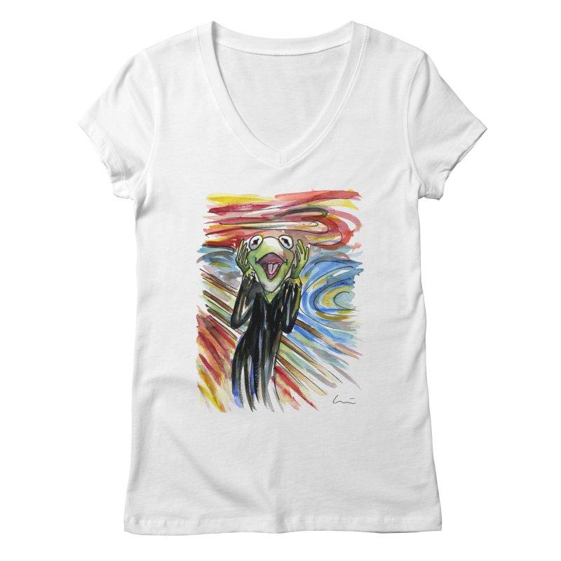 """The shout"" Women's V-Neck by luisquintano's Artist Shop"
