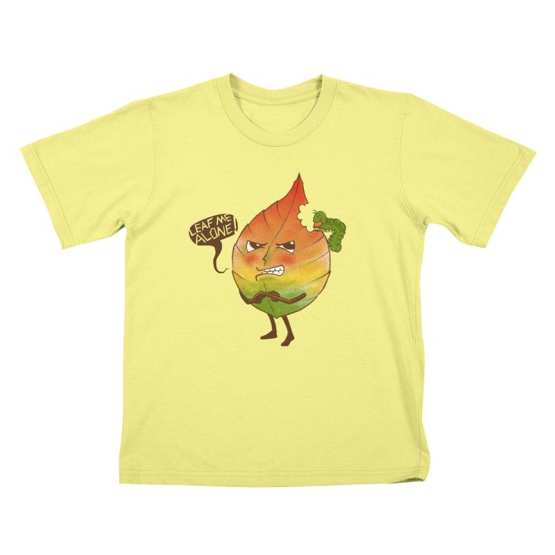 Leaf me alone! Kids T-shirt by Luke Wisner