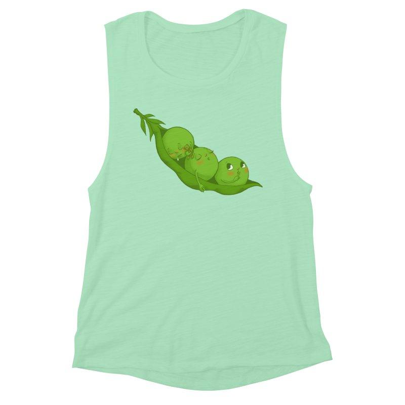 Peas & Quiet Women's Muscle Tank by Luke Wisner