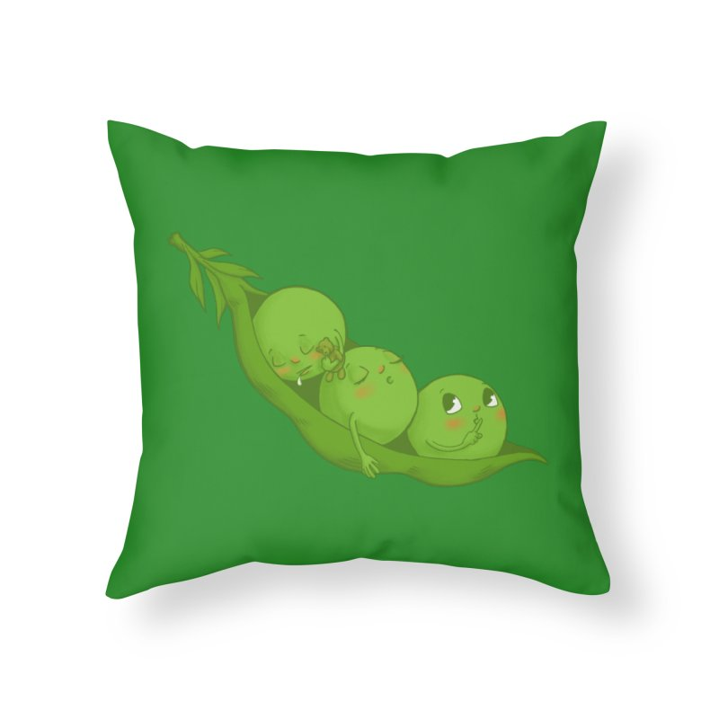 Peas & Quiet Home Throw Pillow by Luke Wisner