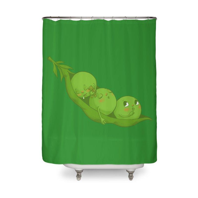Peas & Quiet Home Shower Curtain by Luke Wisner