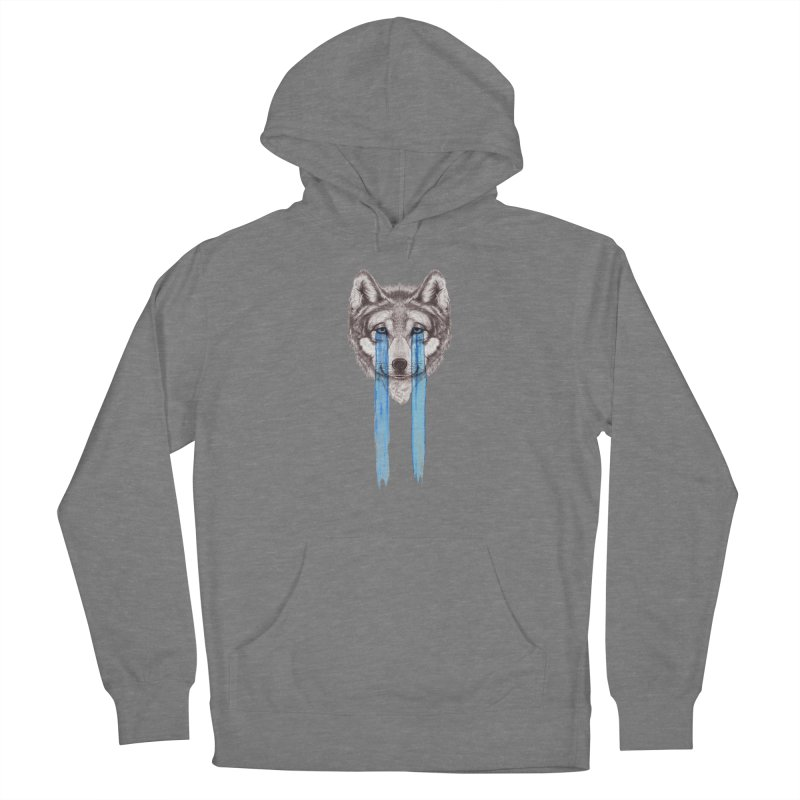 Don't Cry Wolf Men's French Terry Pullover Hoody by Luke Wisner