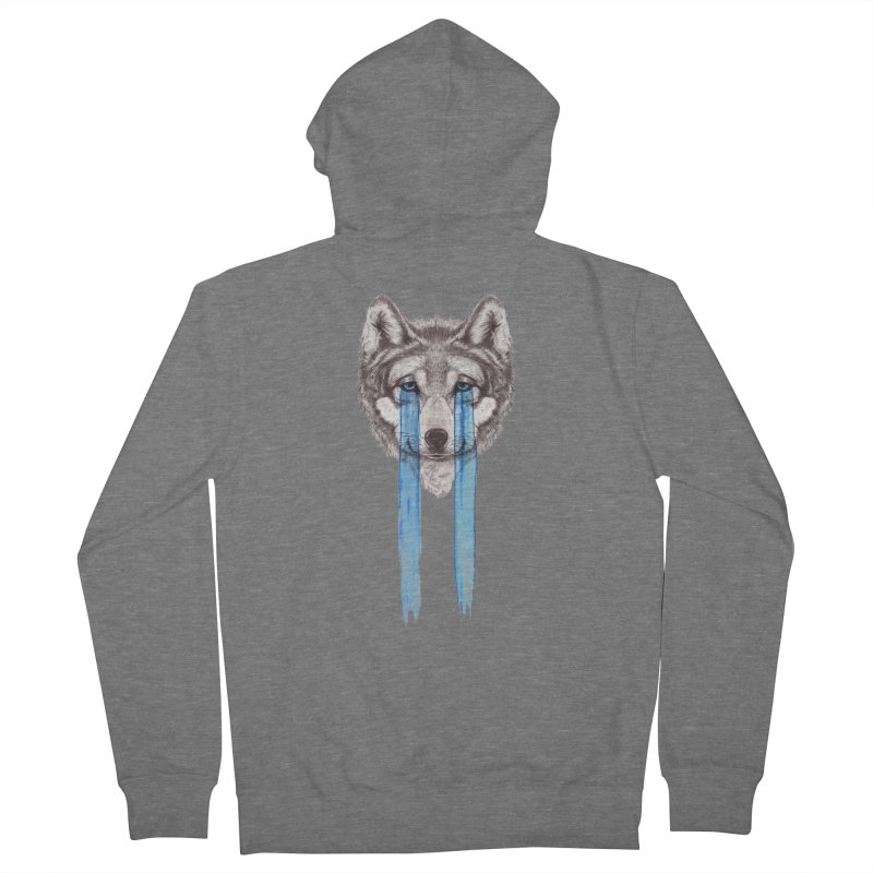 Don't Cry Wolf Women's French Terry Zip-Up Hoody by Luke Wisner